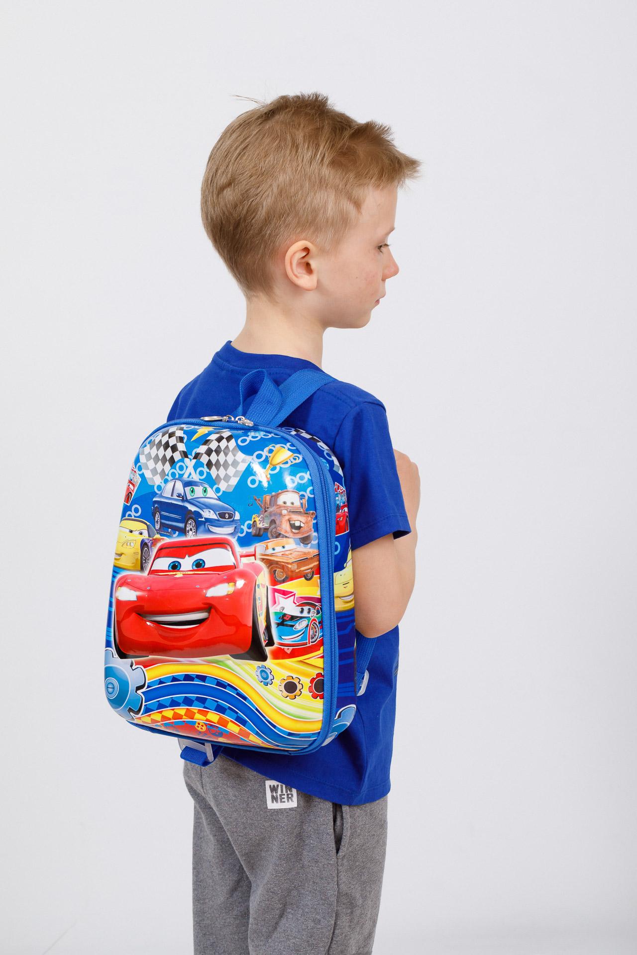 На фото 4 - Детский рюкзак с пластиковой вставкой, цвет синий