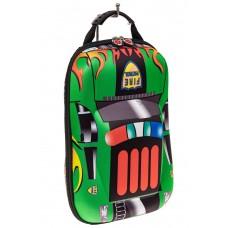 На фото 1 - Детский рюкзак в виде машинки, цвет зеленый