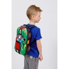 На фото 4 - Детский рюкзак в виде машинки, цвет зеленый