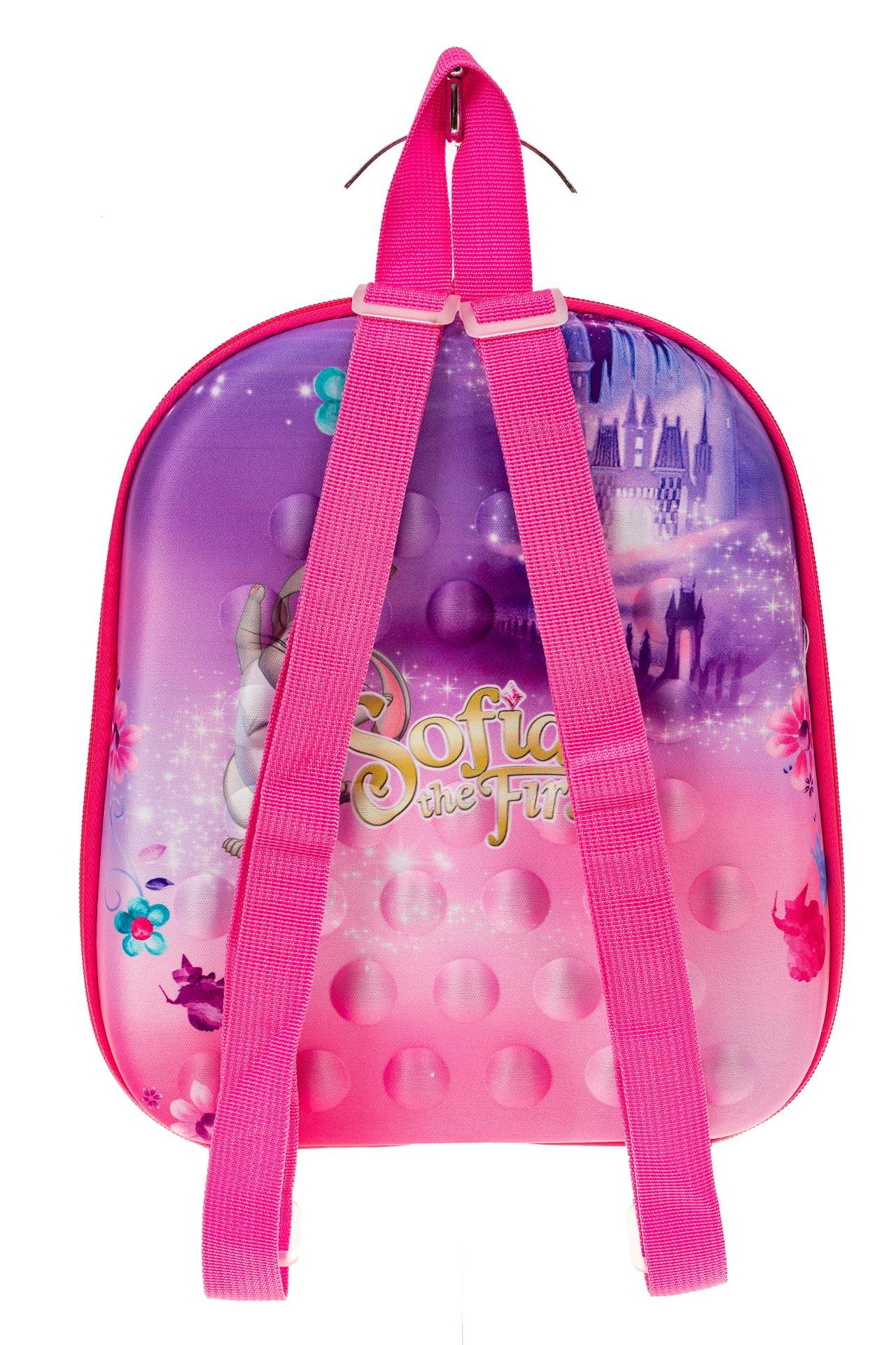 На фото 2 - Плоский детский рюкзачок, цвет розовый с фиолетовым