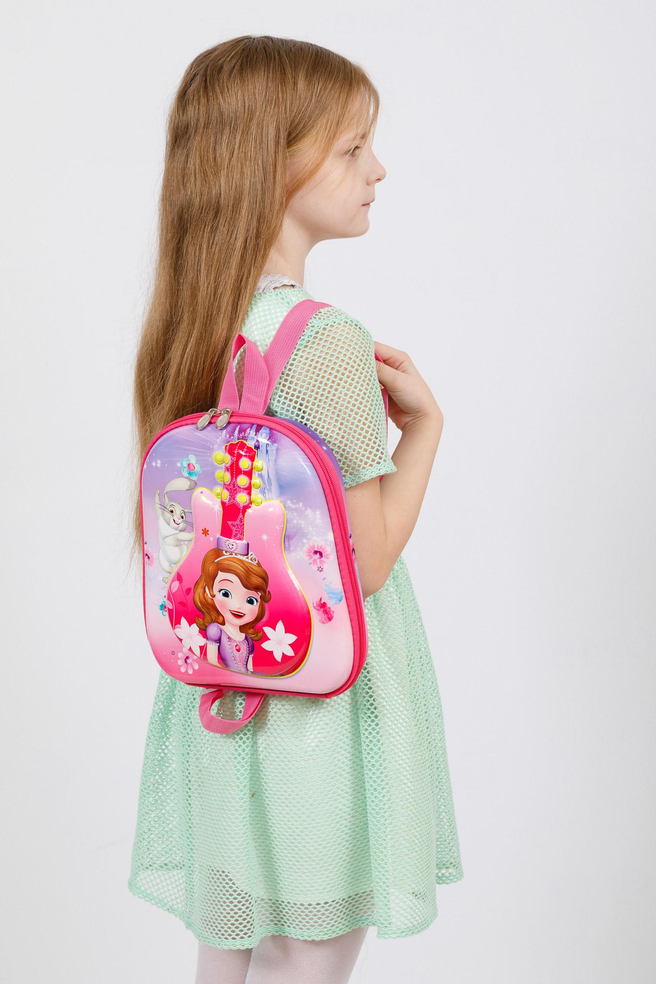 На фото 4 - Плоский детский рюкзачок, цвет розовый с фиолетовым