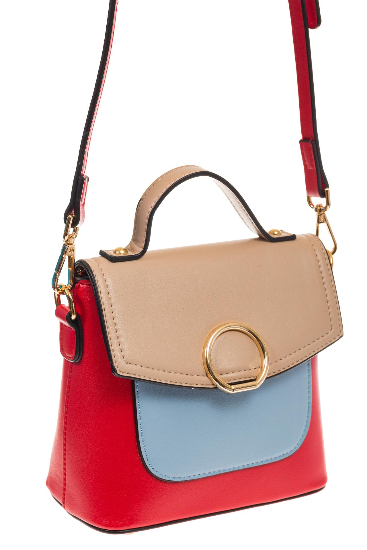 Красная/бежевая/голубая сумка с кольцом из эко-кожи 1817