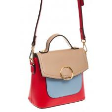 Красная/бежевая/голубая сумка с кольцом из эко-кожи 1817 на фото