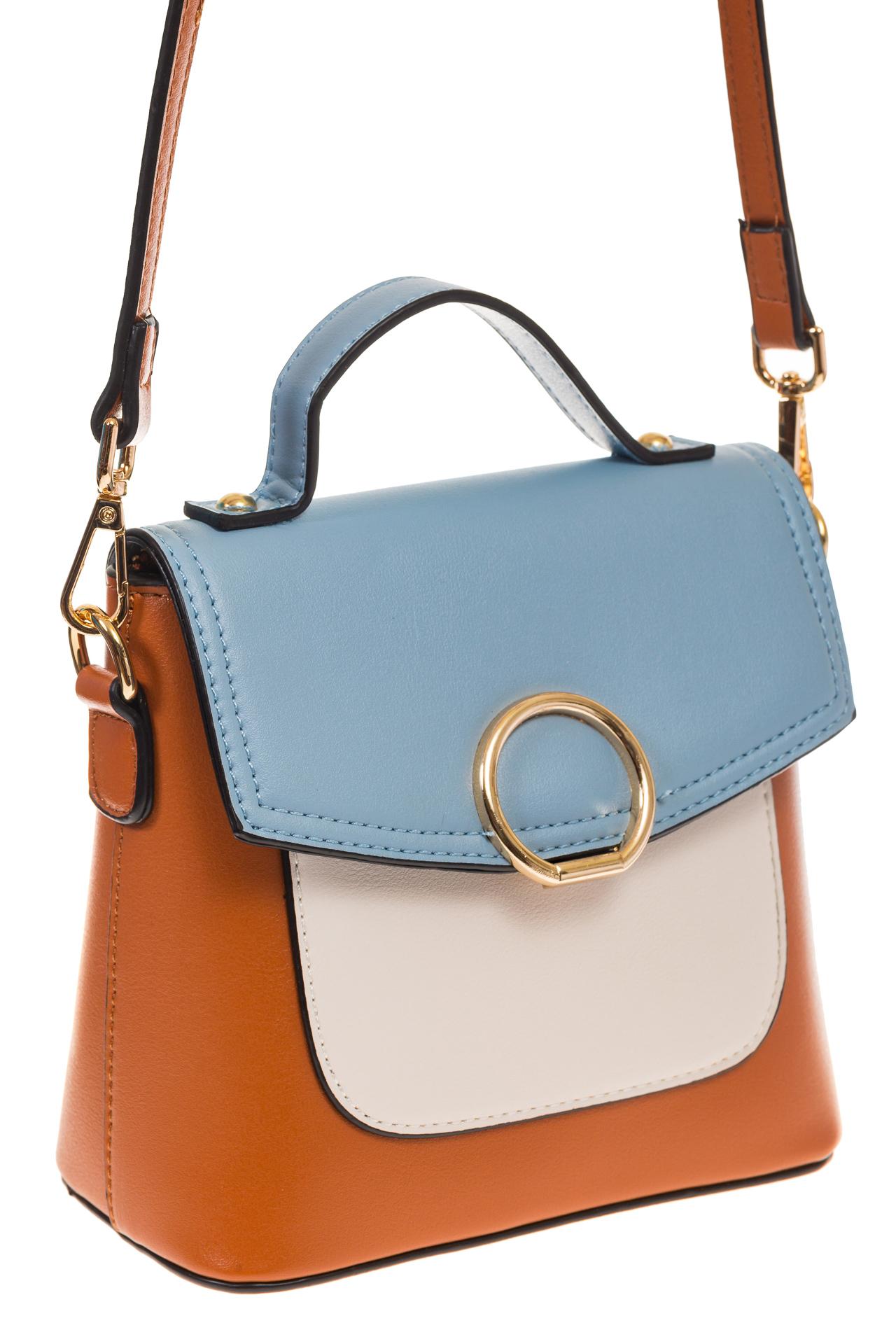 Коричневая/голубая/белая сумка с кольцом из эко-кожи 1817 для оптовых закупок