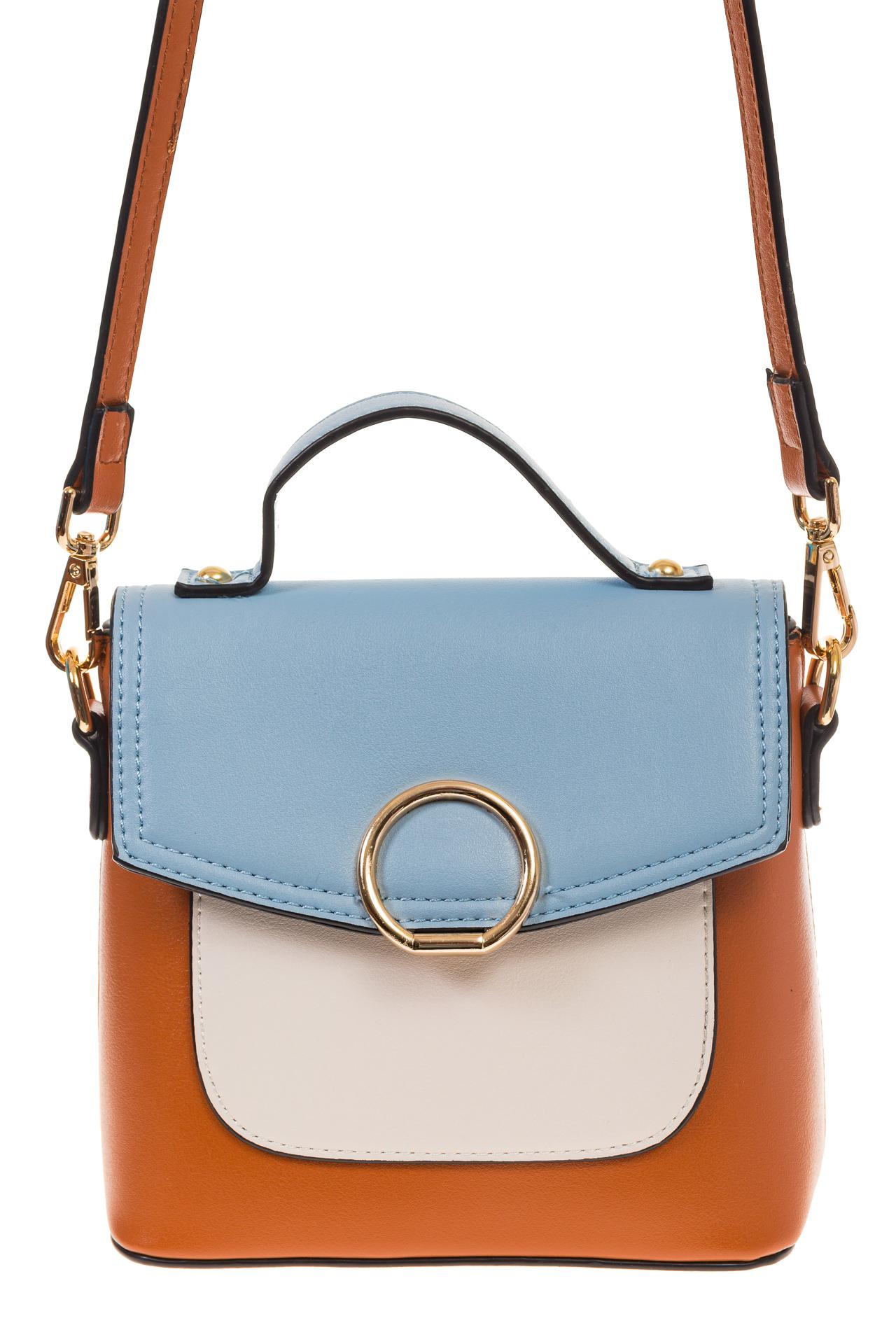 На фото 2 - Коричневая/голубая/белая сумка с кольцом из эко-кожи 1817