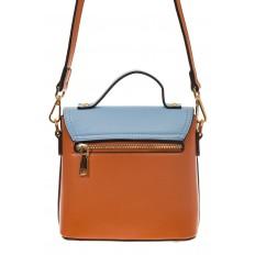На фото 3 - Коричневая/голубая/белая сумка с кольцом из эко-кожи 1817