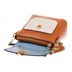 На фото 4 - Коричневая/голубая/белая сумка с кольцом из эко-кожи 1817