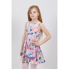 На фото 4 - Сумка для девочки с принтом, цвет нежно-сиреневый