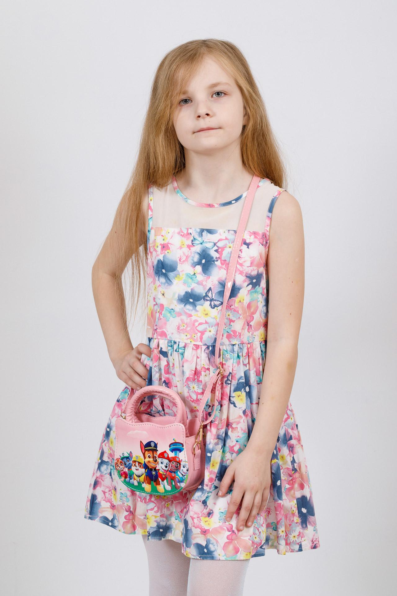 На фото 4 - Сумка для девочки с принтом, цвет пудра