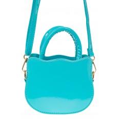 На фото 2 - Сумка для девочки с принтом, цвет голубой