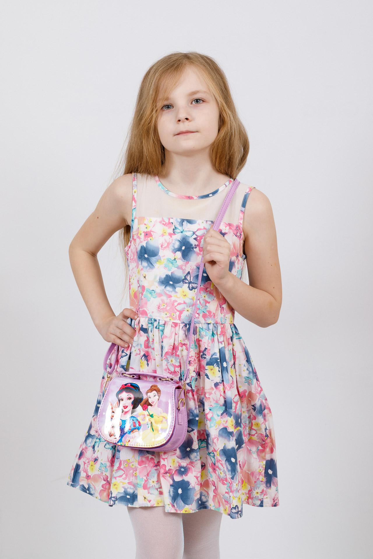 На фото 4 - Сумка для девочки с принтом, цвет фиолетовый
