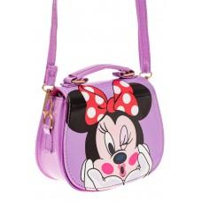 На фото 1 - Сумка для девочки с принтом, цвет нежно-фиолетовый