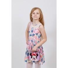 На фото 4 - Сумка для девочки с принтом, цвет нежно-фиолетовый