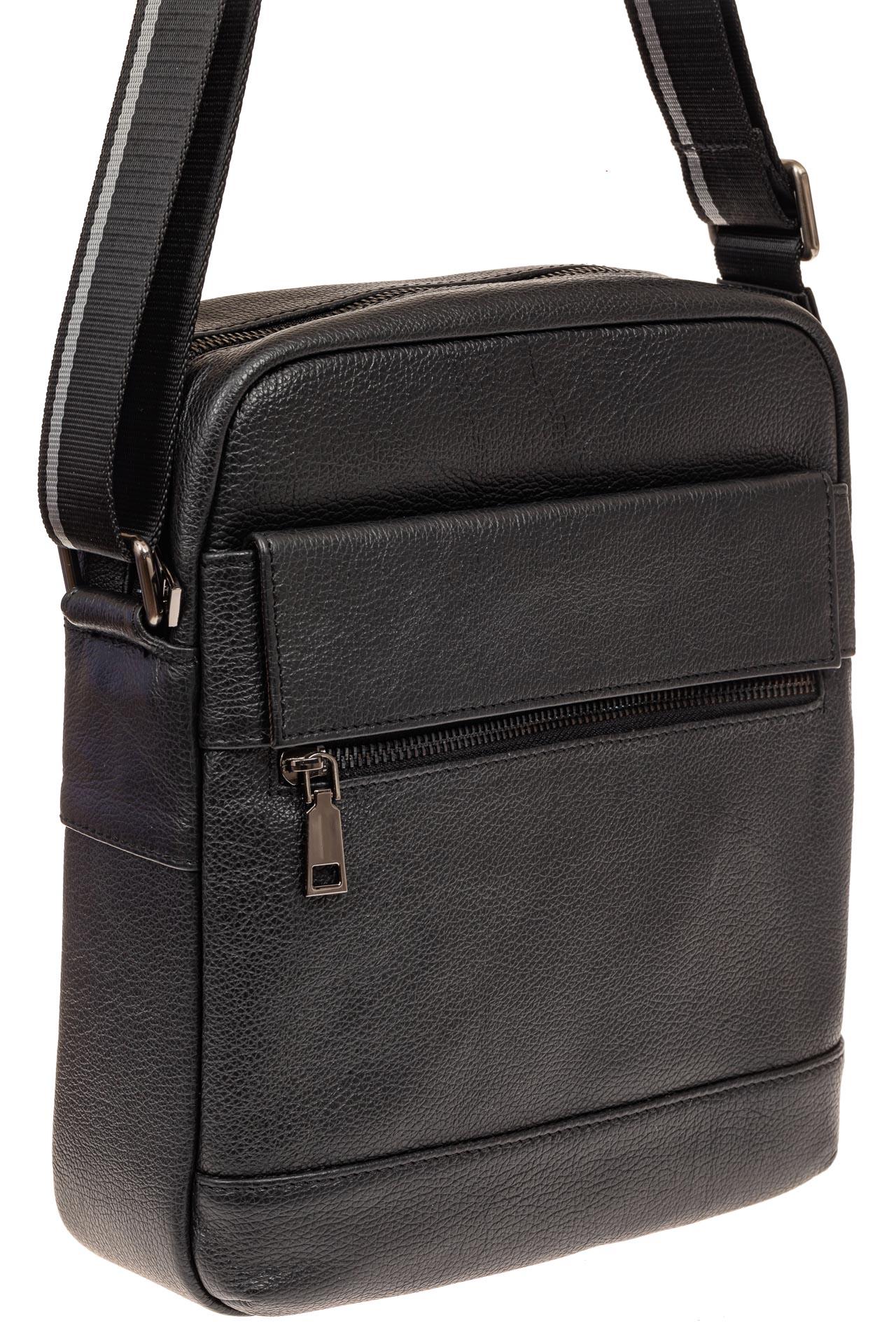 На фото 1 - Мужская сумка планшет из натуральной кожи, цвет черный