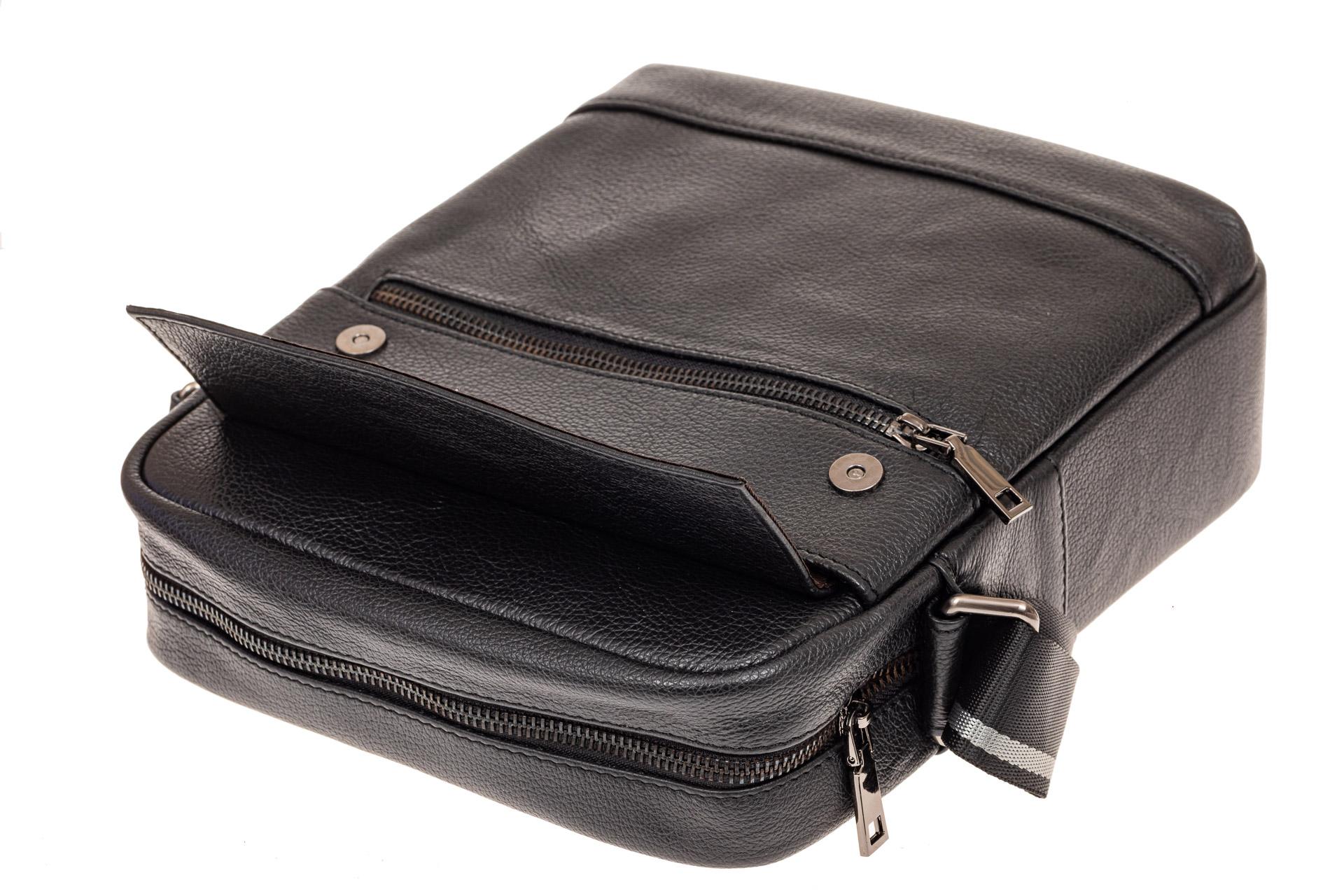 На фото 3 - Мужская сумка планшет из натуральной кожи, цвет черный