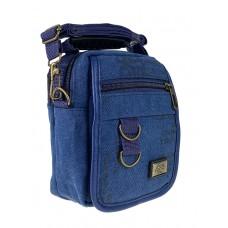 На фото 1 - Маленькая мужская сумка из брезента, цвет джинсовый
