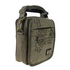 На фото 1 - Маленькая мужская сумка из брезента, цвет хаки