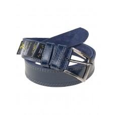 На фото 1 - Кожаный тёмно-синий ремень для мужчин
