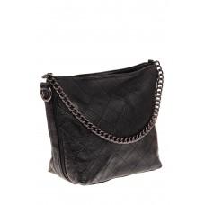 На фото 1 - Небольшая сумка из натуральной кожи, цвет черный