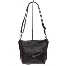 На фото 2 - Небольшая сумка из натуральной кожи, цвет черный