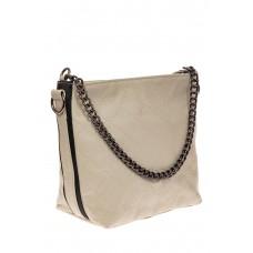 На фото 1 - Небольшая сумка из натуральной кожи, цвет серо-белый