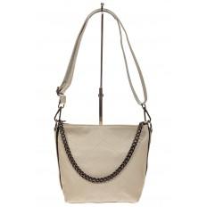 На фото 2 - Небольшая сумка из натуральной кожи, цвет серо-белый