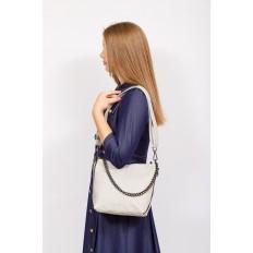 На фото 4 - Небольшая сумка из натуральной кожи, цвет серо-белый