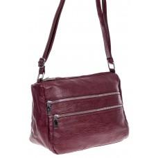 На фото 1 -  Женская классическая сумка из искусственной кожи, цвет винно красный