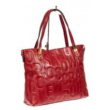 На фото 1 - Женская сумка из натуральной кожи с орнаментом, цвет красный