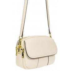 На фото 1 - Женская сумка cross-body из фактурной натуральной кожи, цвет кремовый