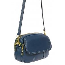 На фото 1 - Женская сумка cross-body из фактурной натуральной кожи, цвет синий