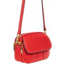 На фото 1 - Женская сумка cross-body из фактурной натуральной кожи, цвет красный