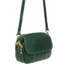 На фото 1 - Женская сумка cross-body из фактурной натуральной кожи, цвет зелёный