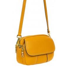 На фото 1 - Женская сумка cross-body из фактурной натуральной кожи, цвет жёлтый