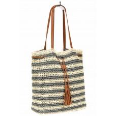 На фото 1 - Плетеная сумка тоут из джута, цвет серый в полоску