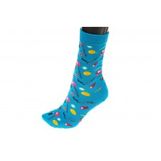 На фото 1 - Носки женские с высокой резинкой, хлопок-полиамид-эластан, цвет голубой
