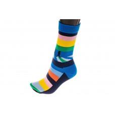 На фото 1 - Носки женские с высокой резинкой, хлопок-полиамид-эластан, цвет синий