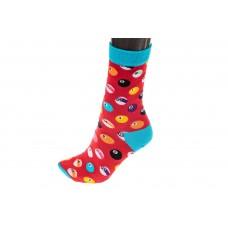 На фото 1 - Носки женские с высокой резинкой, хлопок-полиамид-эластан, цвет красный