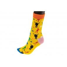 На фото 1 - Носки женские с высокой резинкой, хлопок-полиамид-эластан, цвет желтый