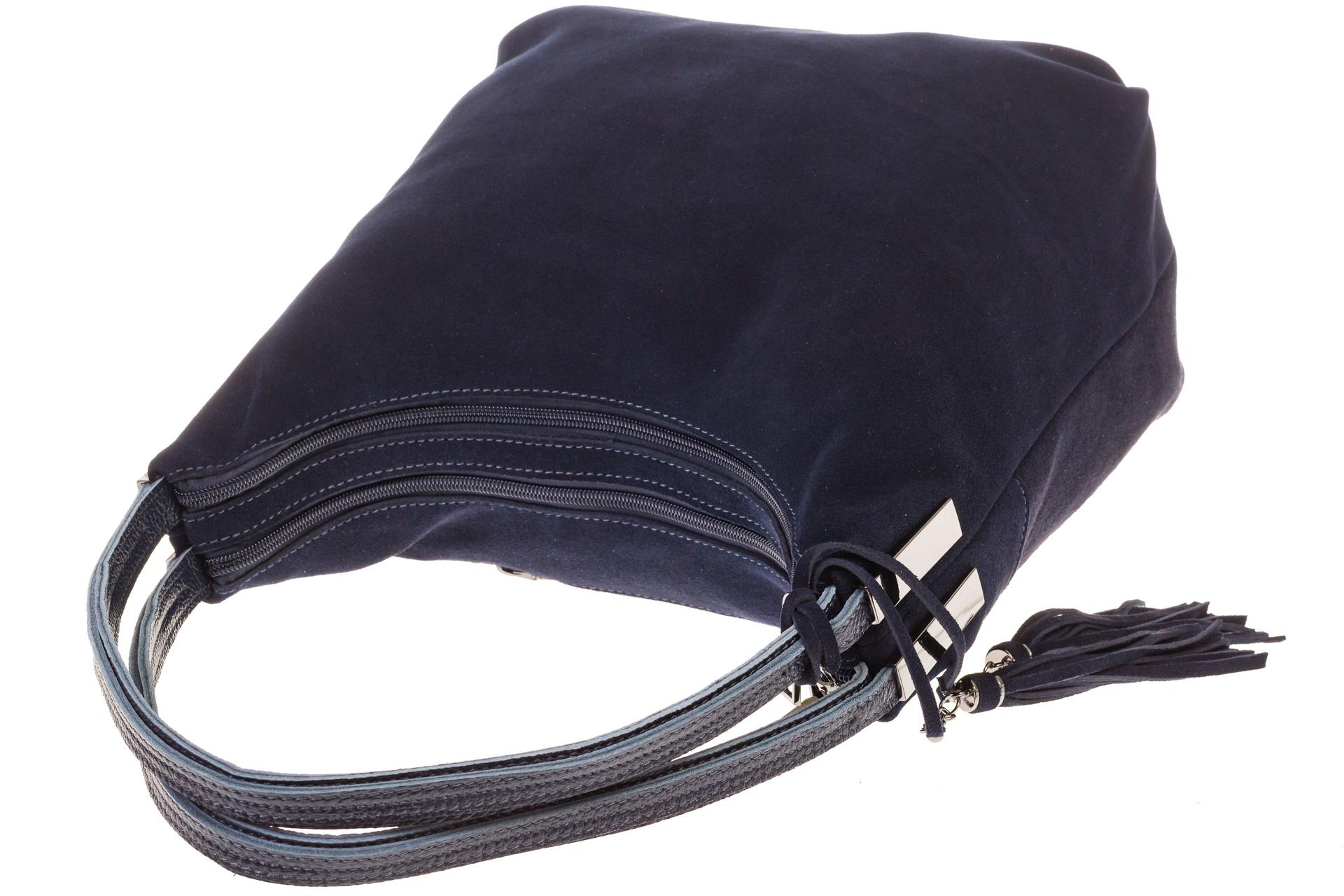 На фото 4 - Синяя хобо из замши с кожаными лямками