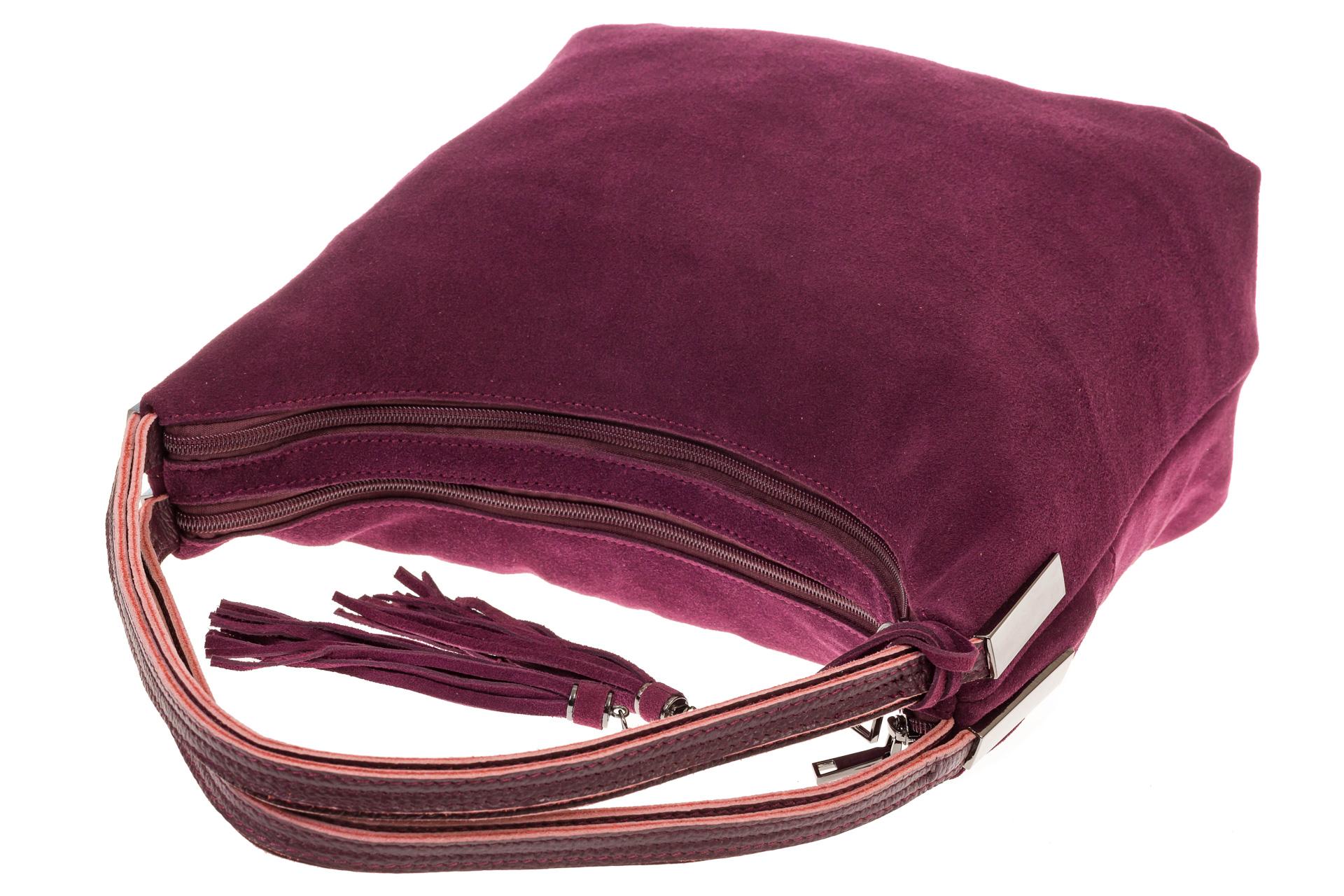 На фото 4 - Бордовая хобо из замши с кожаными лямками