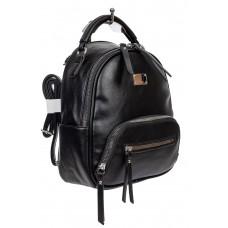 На фото 1 - Женский рюкзачок-трансформер из экокожи, цвет чёрный