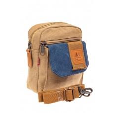 На фото 1 - Маленькая мужская сумка через плечо или на пояс, цвет песочный
