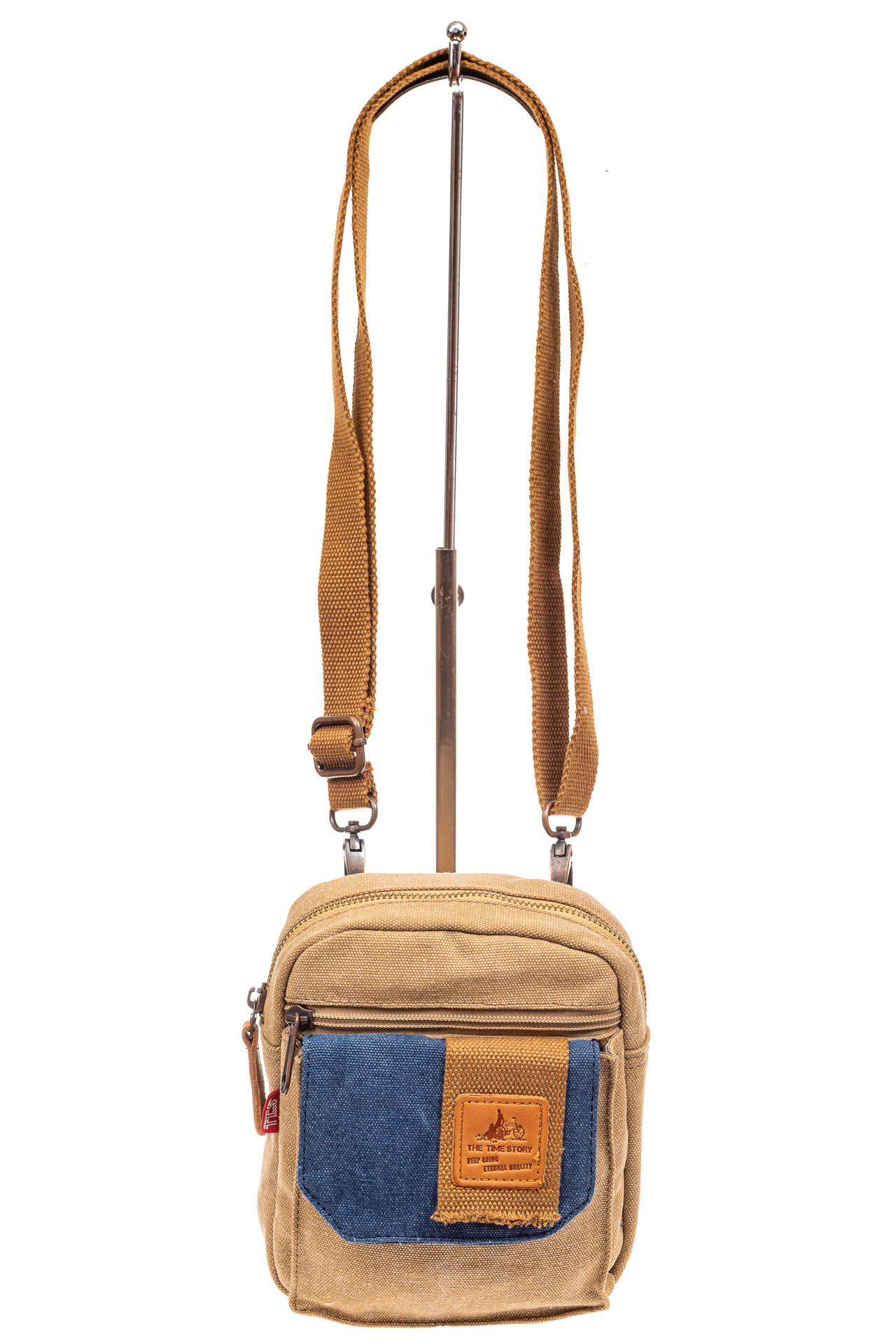 На фото 2 - Маленькая мужская сумка через плечо или на пояс, цвет песочный