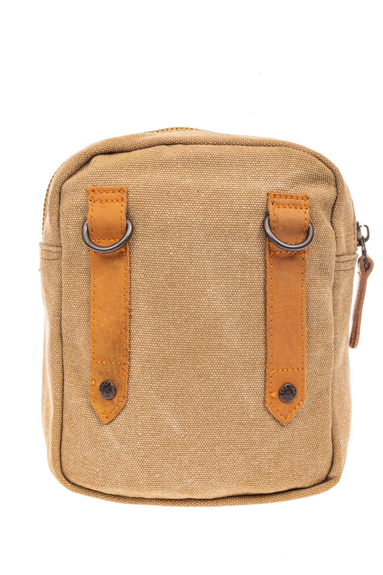 На фото 3 - Маленькая мужская сумка через плечо или на пояс, цвет песочный