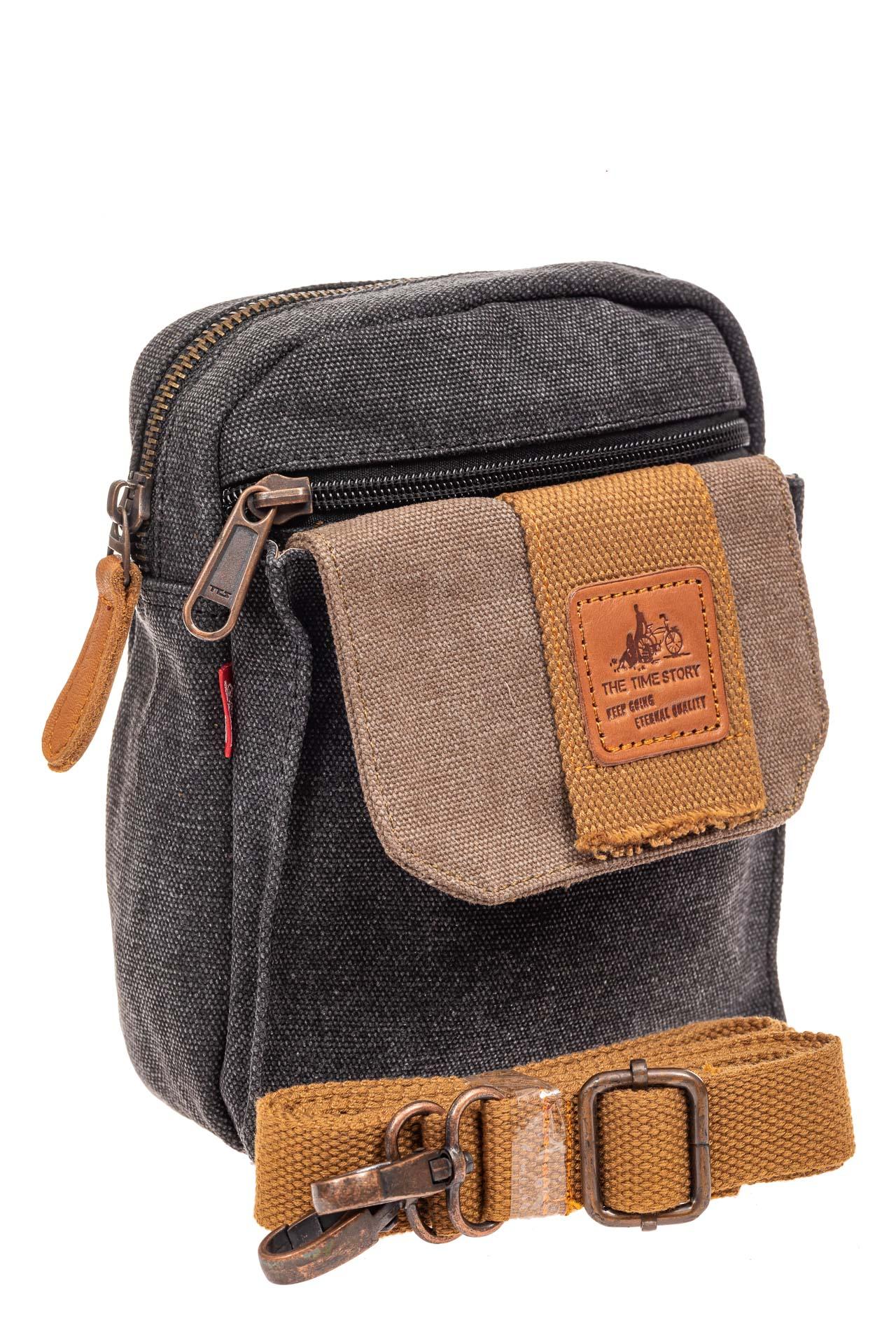 На фото 1 - Маленькая мужская сумка через плечо или на пояс, цвет серый