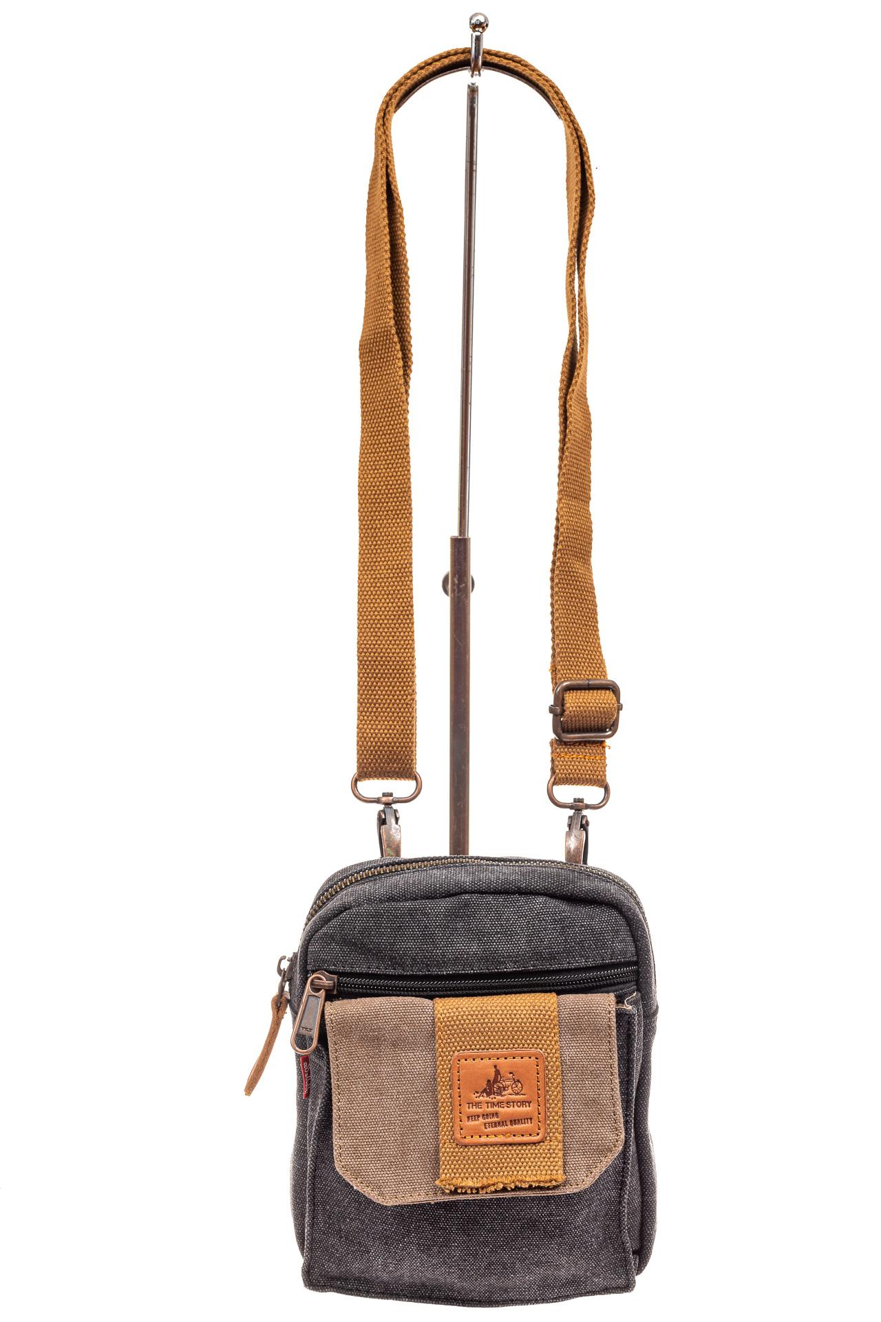 На фото 2 - Маленькая мужская сумка через плечо или на пояс, цвет серый