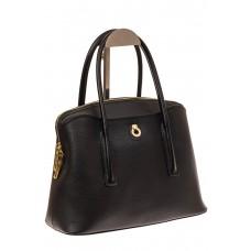 На фото 1 - Классическая женская сумка из натуральной кожи, цвет черный