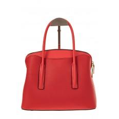 На фото 2 - Классическая женская сумка из натуральной кожи, цвет красный