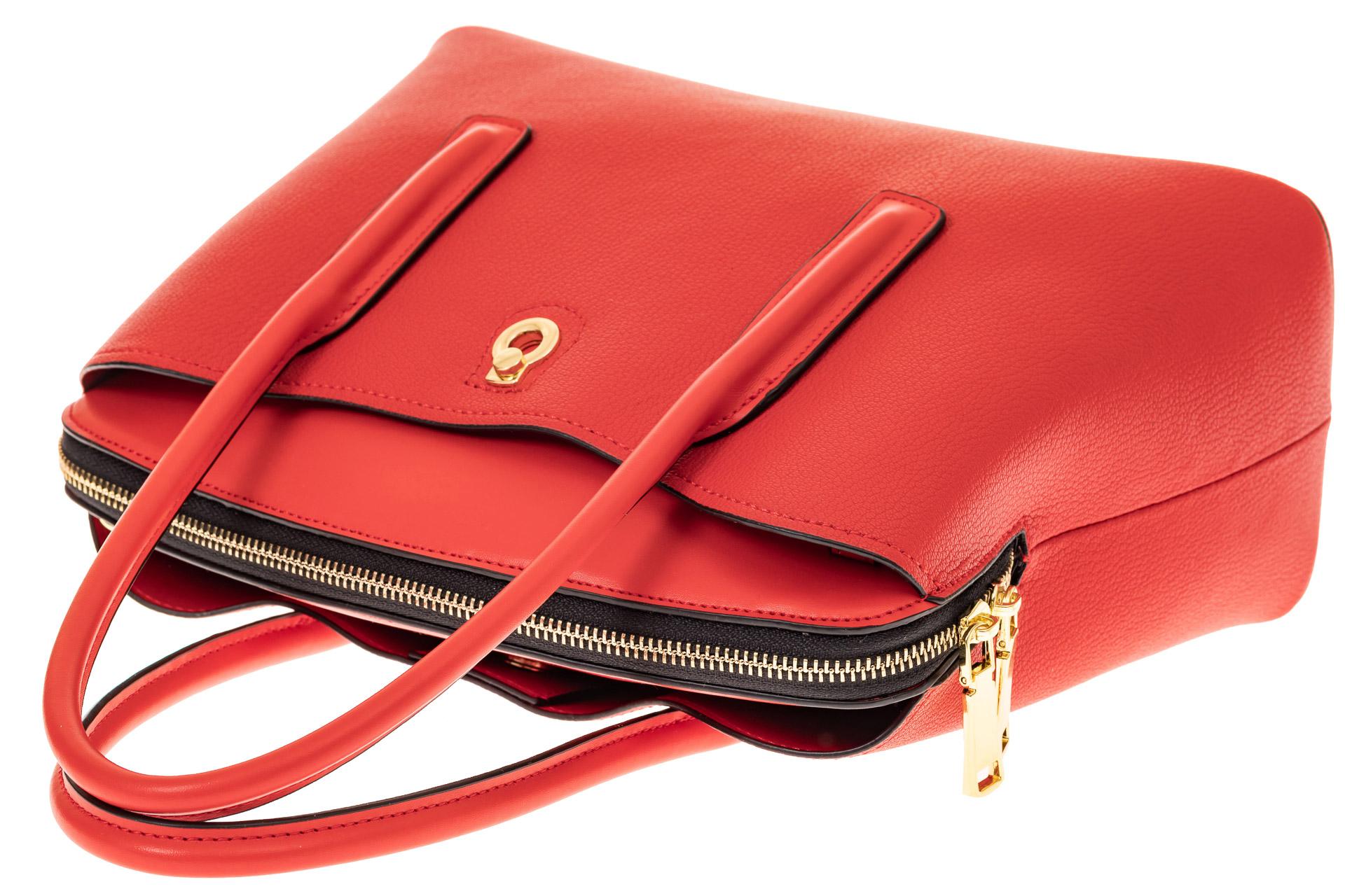 На фото 3 - Классическая женская сумка из натуральной кожи, цвет красный